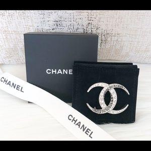 Chanel XL Dubai Halfmoon Silver CC Crystal Brooch